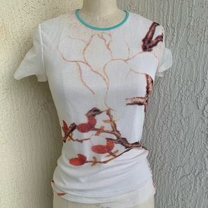 Vivienne Tam Soft Mesh Cream Abstract Print Top!